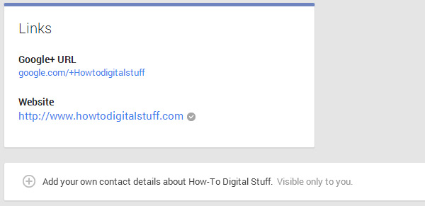 Google+ contact details