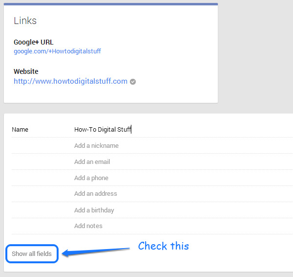 Google+ contact extended details