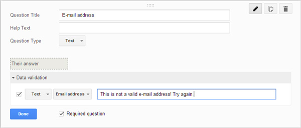 validate email address in google form