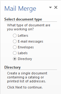 mail merge directory