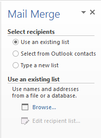 mail merge existing list