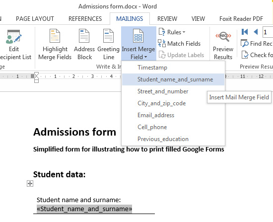 mail merge insert fields