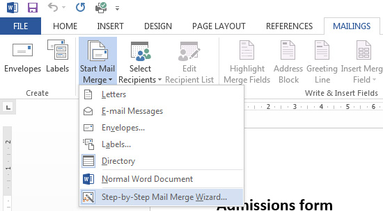 step by step mail merge