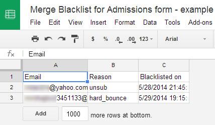 mail merge blacklist