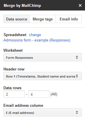 mail merge data source