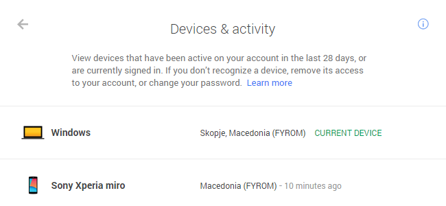 Devices list - Google Account & activity