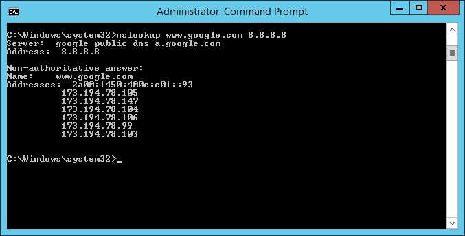DNS nslookup cmd success