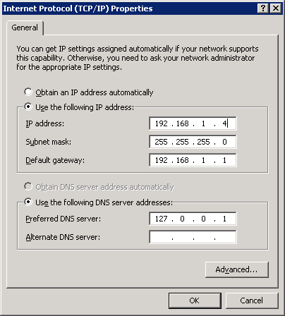 DNS values on Windows Server 2003
