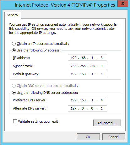 DNS values on Windows Server 2012 R2