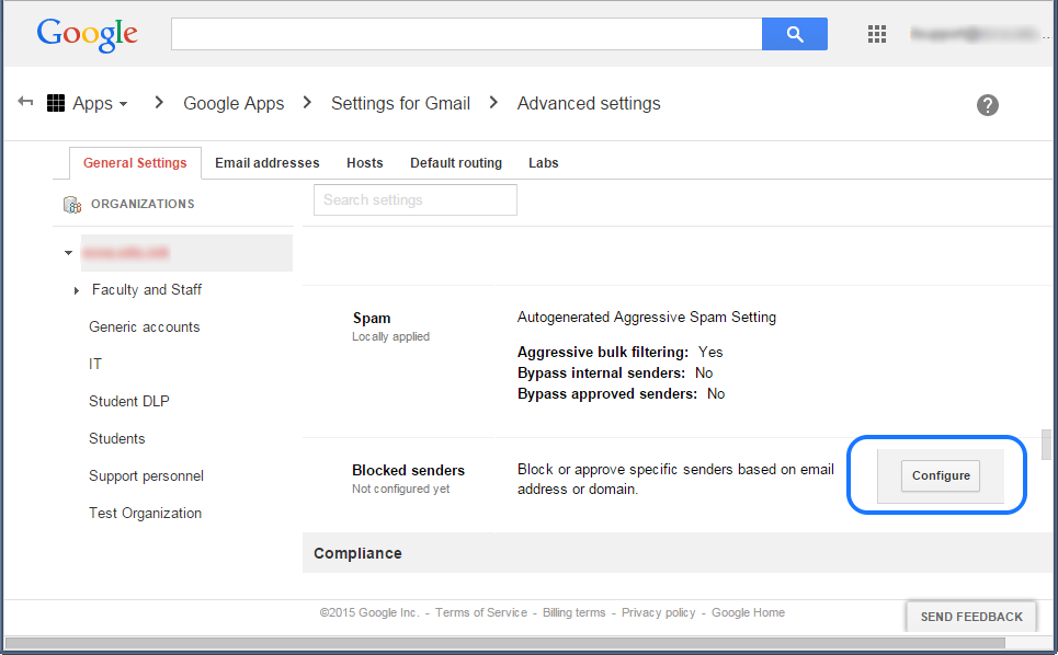 Google Apps advanced settings