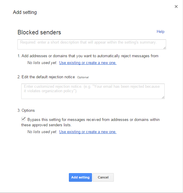 Google Apps configure blocked senders
