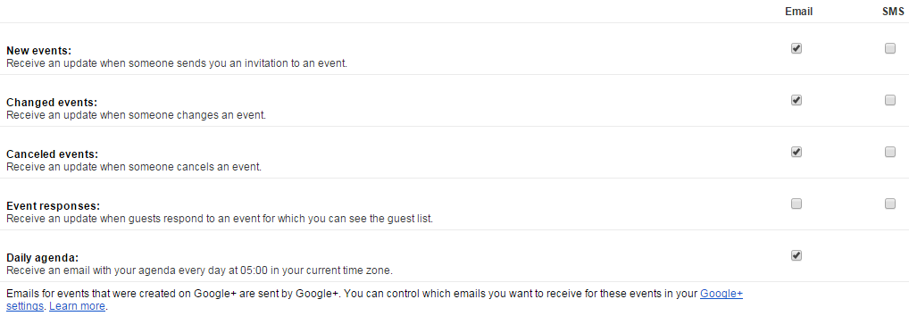 Gmail daily agenda
